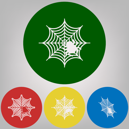 Spider on web illustration. Vector. 4 white styles of icon at 4 colored circles on light gray background.