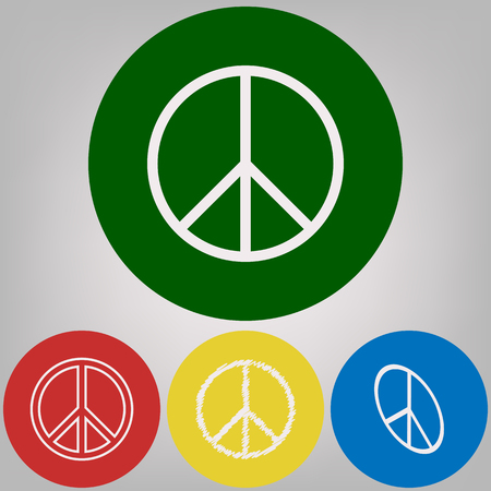 Peace sign illustration. Vector. 4 white styles of icon at 4 colored circles on light gray background.