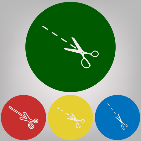 Scissors sign illustration. Vector. 4 white styles of icon at 4 colored circles on light gray background.