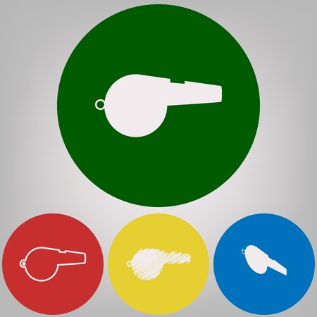 Whistle sign. Vector. 4 white styles of icon at 4 colored circles on light gray background.