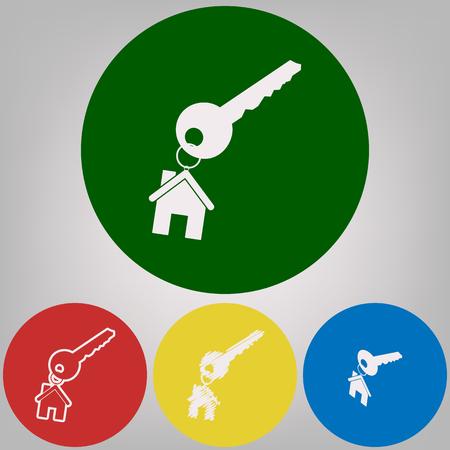 Llave con llavero como un signo de la casa. Vector. 4 estilos blancos del icono en 4 círculos de colores sobre fondo gris claro. Foto de archivo - 90709723