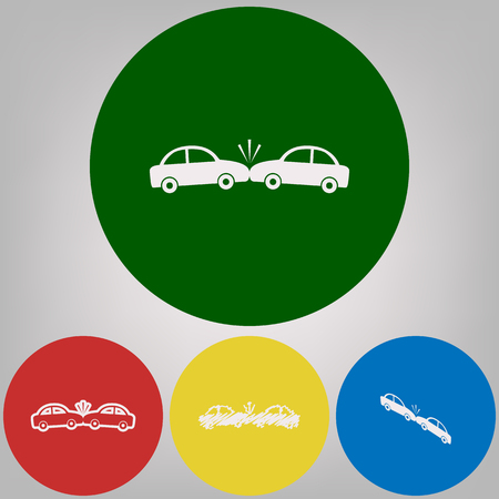 Crashed Cars sign. Vector. 4 white styles of icon at 4 colored circles on light gray background. Illustration