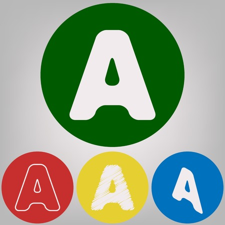 Letter A sign design template element. Vector. 4 white styles of icon at 4 colored circles on light gray background.