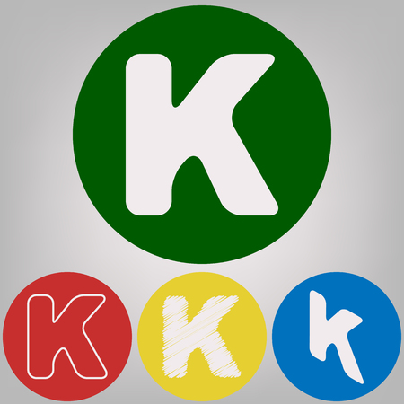 Letter K Sign Design Template Element Vector 4 White Styles