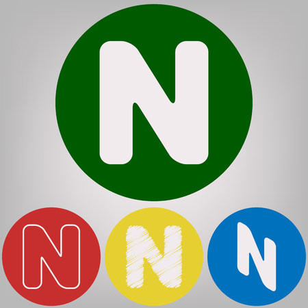 Letter N sign design template element. Vector. 4 white styles of icon at 4 colored circles on light gray background.