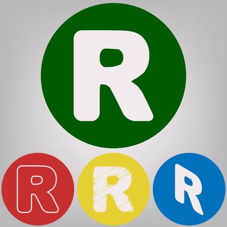 Letter R sign design template element. Vector. 4 white styles of icon at 4 colored circles on light gray background.