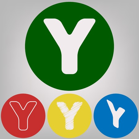 Letter Y sign design template element. Vector. 4 white styles of icon at 4 colored circles on light gray background.