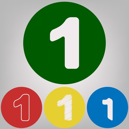 Number 1 sign design template element. Vector. 4 white styles of icon at 4 colored circles on light gray background.