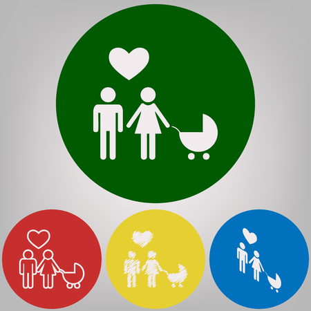 Family symbol with pram and heart. Husband and wife are kept each others hands. Love. Vector. 4 white styles of icon at 4 colored circles on light gray background.