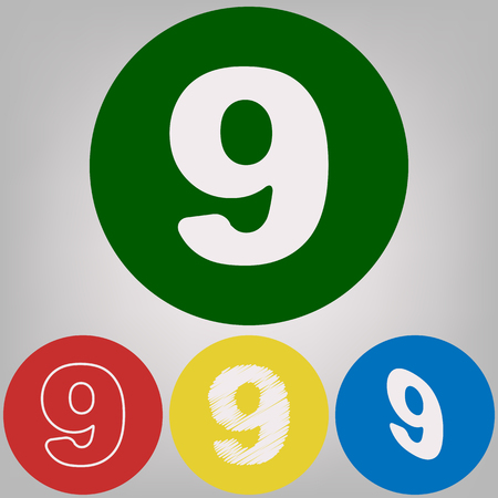 Number 9 sign design template element. Vector. 4 white styles of icon at 4 colored circles on light gray background.