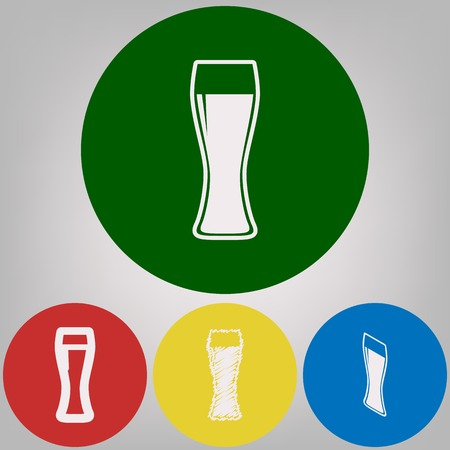Beer glass sign. Vector. 4 white styles of icon at 4 colored circles on light gray background.