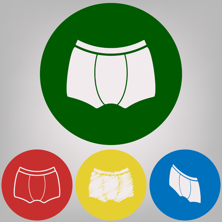 Men underwear sign. Vector. 4 white styles of icon at 4 colored circles on light gray background.