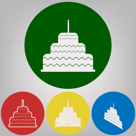 Cake with candle sign. Vector. 4 white styles of icon at 4 colored circles on light gray background.