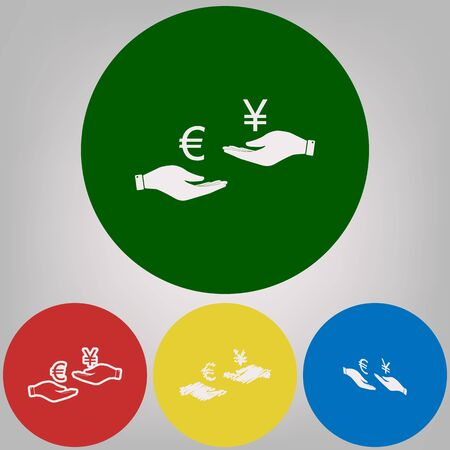 Currency exchange from hand to hand. Euro and Yen. Vector. 4 white styles of icon at 4 colored circles on light gray background.