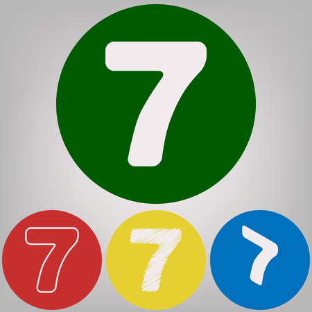Number 7 sign design template element. Vector. 4 white styles of icon at 4 colored circles on light gray background.