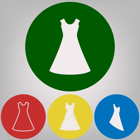 Beautiful long dress sign. Vector. 4 white styles of icon at 4 colored circles on light gray background. Illustration