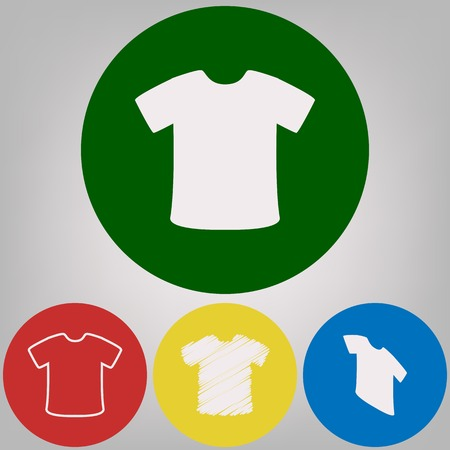 T-shirt sign. Vector. 4 white styles of icon at 4 colored circles on light gray background.
