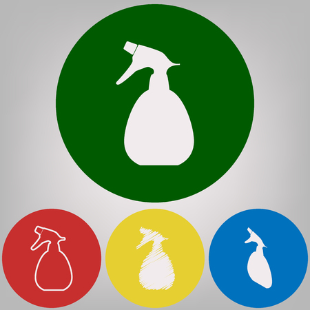 Spray bottle for cleaning sign. Vector. 4 white styles of icon at 4 colored circles on light gray background. Illustration