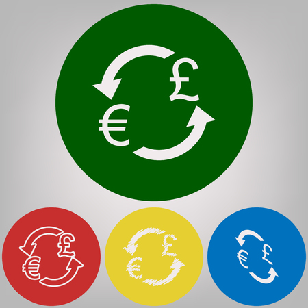 Currency exchange sign. Euro and UK Pound. Vector. 4 white styles of icon at 4 colored circles on light gray background.