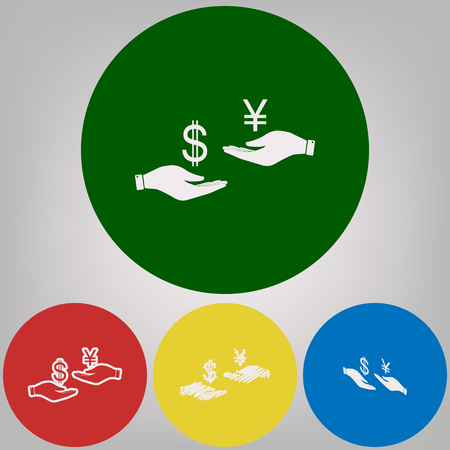 Currency exchange from hand to hand. Dollar and Yen. Vector. 4 white styles of icon at 4 colored circles on light gray background. Illustration
