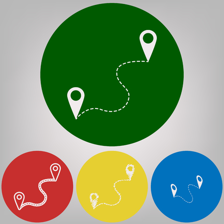 Location pin navigation map, gps sign. Vector. 4 white styles of icon at 4 colored circles on light gray background.