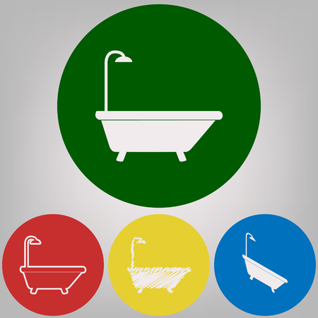 Bathtub sign. Vector. 4 white styles of icon at 4 colored circles on light gray background.