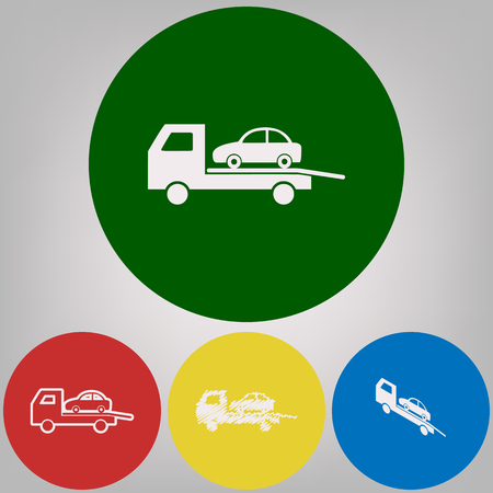 Tow car evacuation sign. Vector. 4 white styles of icon at 4 colored circles on light gray background.