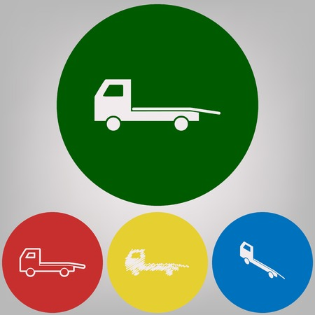 Service of evacuation sign. Wrecking car side. Car evacuator. Vehicle towing. Vector. 4 white styles of icon at 4 colored circles on light gray background.