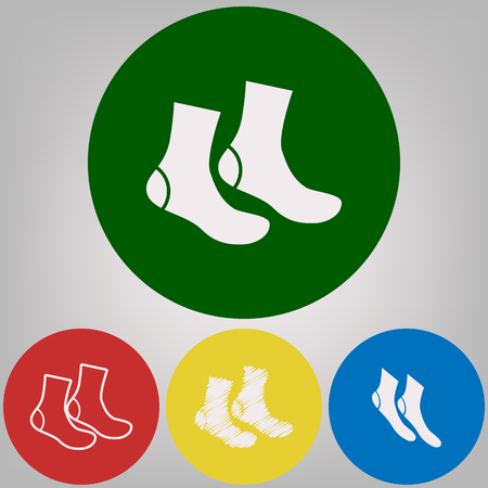Socks sign. Vector. 4 white styles of icon at 4 colored circles on light gray background. Illustration