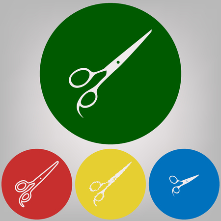 Hair cutting scissors sign. Vector. 4 white styles of icon at 4 colored circles on light gray background. Illustration
