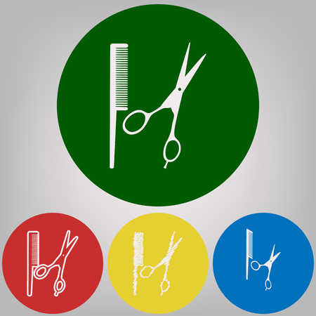 Barber shop sign. Vector. 4 white styles of icon at 4 colored circles on light gray background.