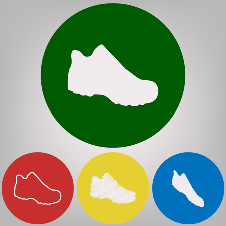 Boot sign. Vector. 4 white styles of icon at 4 colored circles on light gray background.