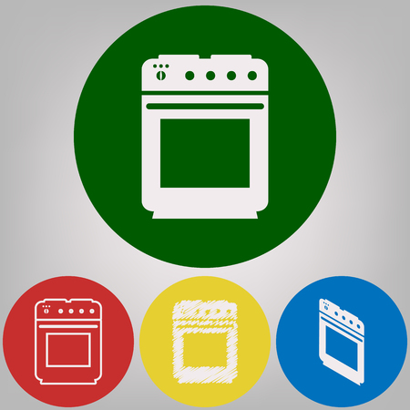 Stove sign. Vector. 4 white styles of icon at 4 colored circles on light gray background. Vettoriali
