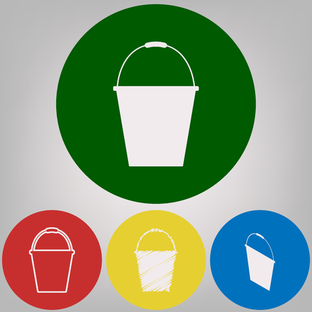 Bucket sign for garden. Vector. 4 white styles of icon at 4 colored circles on light gray background.