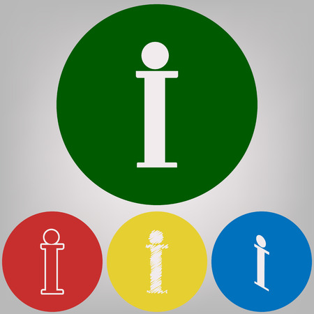 Info sign. Vector. 4 white styles of icon at 4 colored circles on light gray background.