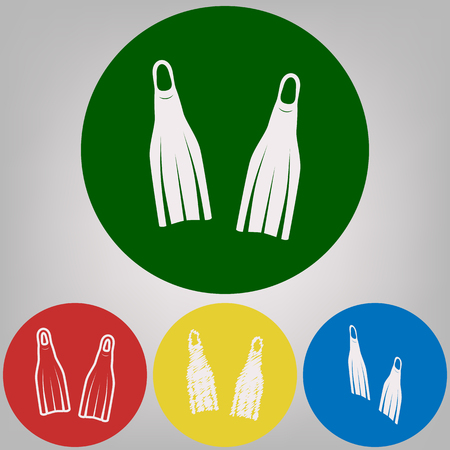 Diving flippers sign. Vector. 4 white styles of icon at 4 colored circles on light gray background. Illustration