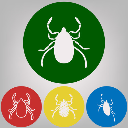 Dust mite sign illustration. Vector. 4 white styles of icon at 4 colored circles on light gray background.