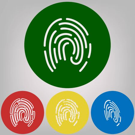 Fingerprint sign illustration. Vector. 4 white styles of icon at 4 colored circles on light gray background.