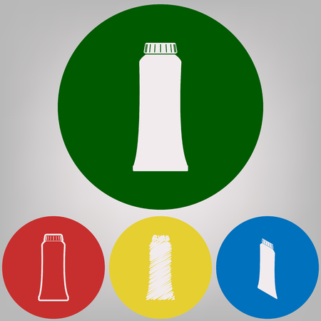 Toothpaste tube sign illustration. Vector. 4 white styles of icon at 4 colored circles on light gray background. Illustration