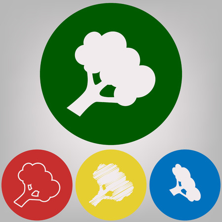 Broccoli branch sign. Vector. 4 white styles of icon at 4 colored circles on light gray background.