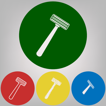 Safety razor sign. Vector. 4 white styles of icon at 4 colored circles on light gray background. Illustration