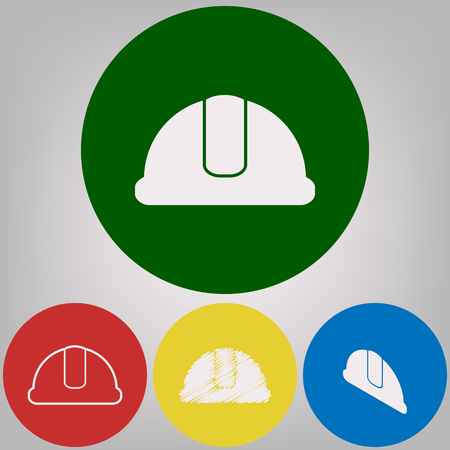 Hard hat sign. Vector. 4 white styles of icon at 4 colored circles on light gray background.
