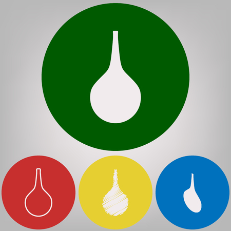 Enema sign. Vector. 4 white styles of icon at 4 colored circles on light gray background.