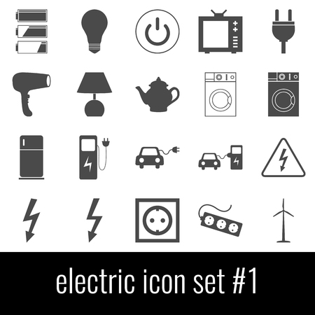 Electric. Icon set 1. Gray icons on white background.