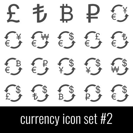 Currency. Icon set 2. Gray icons on white background.