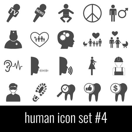 Human. Icon set 4. Gray icons on white background.