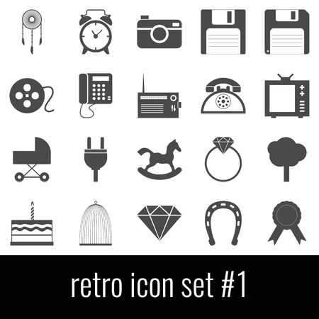 Retro. Icon set 1. Gray icons on white background.