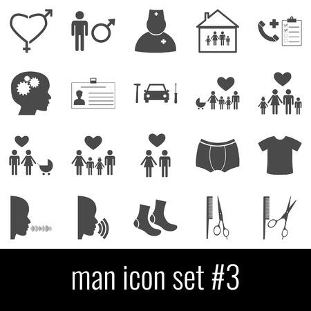 Man. Icon set 3. Gray icons on white background.