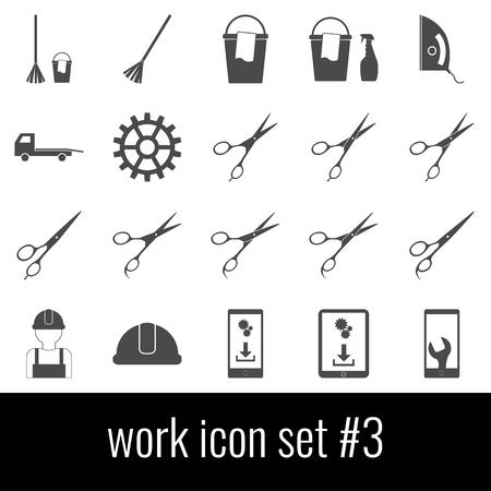 Work. Icon set 3. Gray icons on white background.