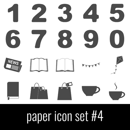 Paper themed Icon set in Gray icons on white background. Ilustrace